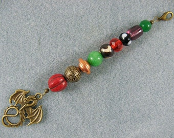 "5.5""  fantasy hair bead strand with dragon"
