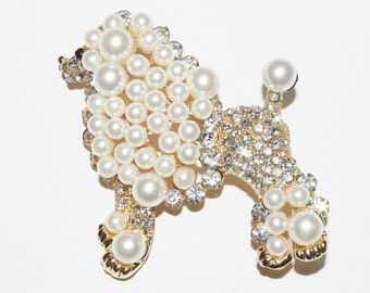 KJL Large White Poodle Pin  - S1604 Goldtone