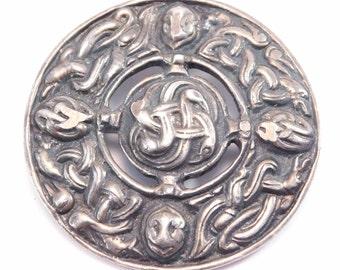 Ornate Old Silver Celtic Knot Scottish Kilt Brooch