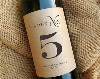 Table Number Wine Labels \\ Wedding Centerpiece \\ Kraft or White