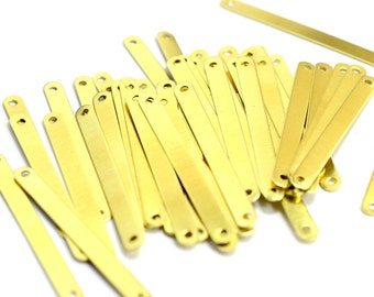 150 Pcs. Raw Brass 4x40 mmRectangle 2 Hole Stamping Blanks Findings 0.45 mm Thick