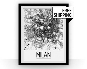 Milan Map Poster - italy Map Print - Art Deco Series