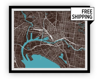 Melbourne Map Print - Choose your color