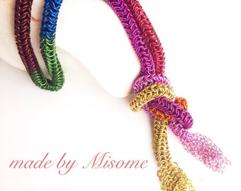 Chainmail necklace bright rainbow colored round mail shawl, chain mail, bright handmade chain mail jewelry made by misome