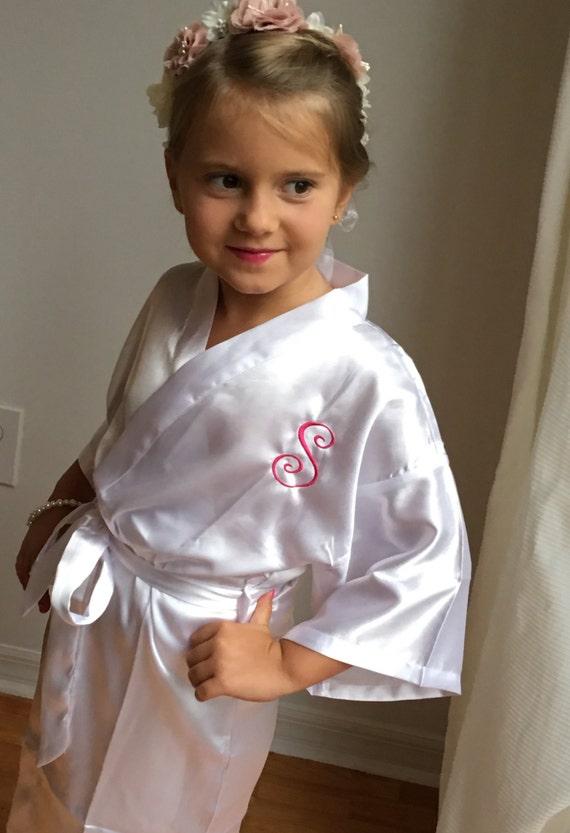 flower girl satin robe 1 junior bridesmaid satin robe