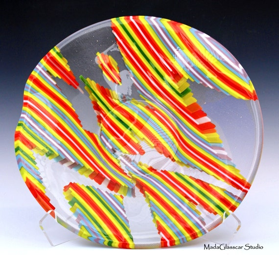 Multi-Color Strip Cut Fused Glass Bowl