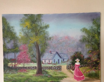 """VICTORIAN OIL PAINTING of """"Lady Down The Lane"""""""