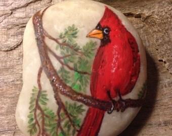 Custom Painted ROCK Cardinal PAPERWEIGHT