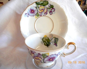 Occupied Japan Trimont China Trillium Flower Cup & Saucer - REDUCED