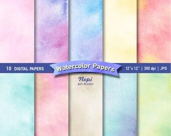 Watercolor Paper Digital Set, Abstract Watercolor Paper, Colorful Watercolor Background Paper, Brush Texture, Scrapbooking Printable Paper