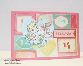 Handmade Sweetheart Card, Kissin Kiddos Valentine Card, Blank Inside, Pink and Blue