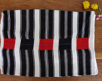 Vintage Red Black and White Oxchuc Pillow Cover