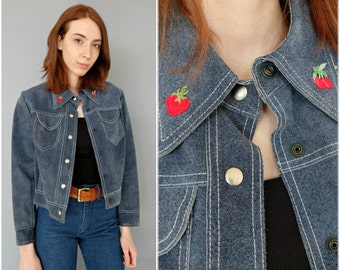 1960s 70s dusty blue suede jacket with strawberry cherry collar