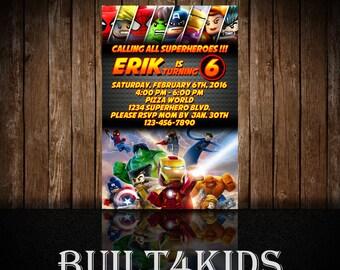 Lego Superhero Invitation/Invite / digital or print/ Legos/