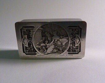 Art Nouveau antique stamp box silver wedding gifts for him BERNARD WICKER ROMANTIC gifts double stamp box table accessories