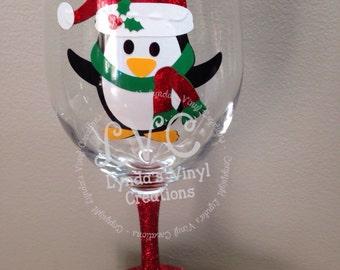 Penguin Glitter Base wine glass