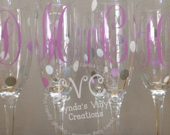 Personalized Single Initial Bridal Party Champagne Glasses