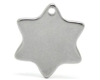 10 silver stainless steel star, logos, trailer, 20 x 18 mm