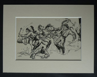 1950s Vintage Cowboy Print, Retro Cowboys and Indians Decor, Available Framed, Western Art, Old Wild West Picture, Frontier Battle Wall Art