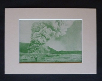 1930s Antique Mount Aso Print, Japanese Wall Art, Japan Decor, Available Framed, Volcano Art, Geology Gift, Aso Kujū National Park, Kyushu