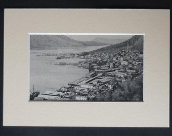 1920s Antique Juneau Print, Available Framed, Alaska Art, Gastineau Channel Port Picture, Alaskan Decor, Old Harbor Photography, Docker Gift