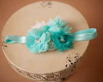 Aqua Teal Cream Headband , Chiffon Tulle Flowers Headband , Turquoise Aqua Headband for girls