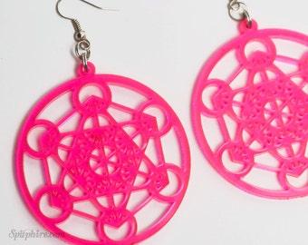 Pink Metatron's Cube Earrings - Large - Neon Pink Acrylic - Merkaba - Laser Cut