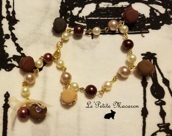 Sweet Lolita Pearl Macaron Bracelet 3 Mocha Madness
