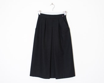 on sale - black wool front pleat skirt / high waist midi a-line skirt / size 24