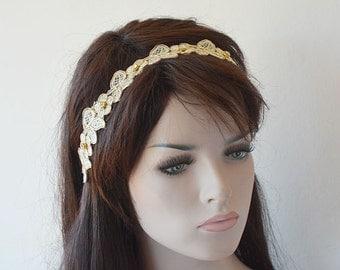 Gold Lace headband, Wedding Headband, Bridal Hair Accessory, Lace  Bridal Head Piece, Wedding Hair Accessories