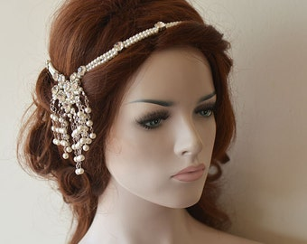 Pearl Bridal Headpiece, Wedding Accessories, Pearl Headband, Wedding Headpiece, Bridal Hair Jewelry
