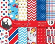 80% OFF SALE British london digital papers, commercial use, scrapbook papers, background - PS680