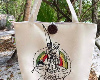 Handprinted and Hand Painted Canvas Tote Bag Made in Seychelles: Roots