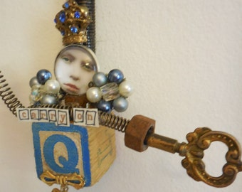 Queen Sign, *or* CARRY On Sign, Queen Gift,  Artdoll, Mixed Media Wall Art, Assemblage Doll, Vintage Shabby Doll, Carry On, Jewelry