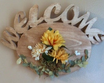 Scrolled Wooden Welcome Plaque with Yellow Flowers