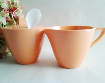 Vintage Apricot Melamine Sugar Bowl And Creamer Kitchenware By Allied Chemical, 1950s Collectible Kitsch/Replacements/RV Accessory/USA Made