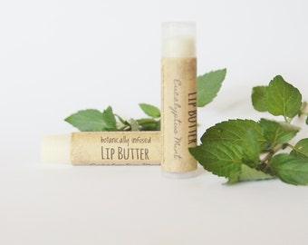 Eucalyptus Mint Lip Butter, Botanically Infused Shea Butter Lip Balm, Herbal Lip Balm