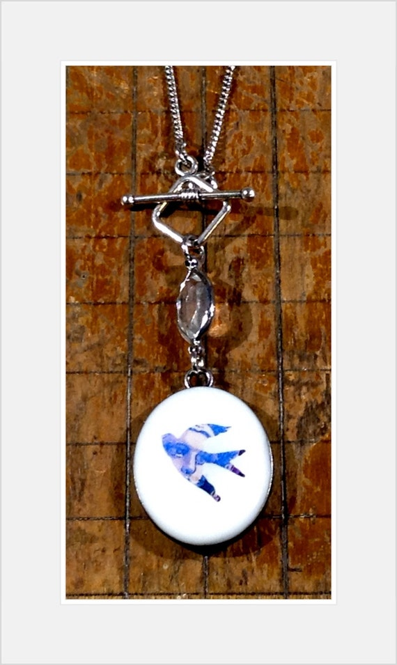 Faux French Enamel Necklace, Double-Sided Pendant