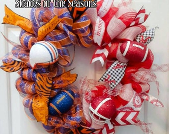 House Divided Wreath, Alabama /Auburn House Divided Football Wreath, Sports Wreath, Alabama, Auburn, Football Wreath, Collegiate Wreath