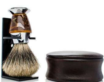 Men's Shaving Kit - Shaving Set - PURE badger shaving brush - mens christmas gifts - wood shaving bowl - mens gifts - gifts for dad - gifts