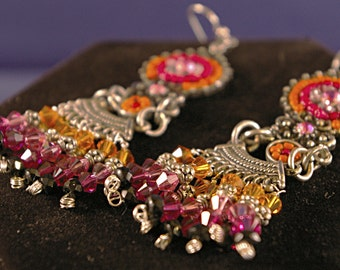 Large Orange with Coral India Chandelier Earrings