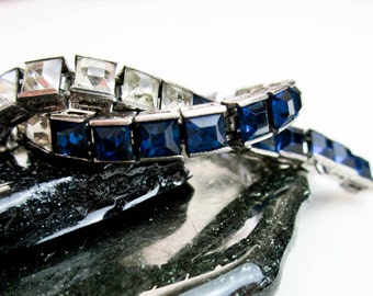 Bracelet Diamond & Sapphire Art Deco Sterling Paste 1920s, Hallmarked, Faceted Czech Crystals, Bridal Wedding Jewelry USA.