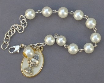 First Communion - 8mm White Pearl Glass One Decade Rosary Bracelet