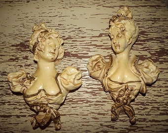 Vintage SHABBY LADY Victorian Maiden Ladies Chalkware Wall PLAQUES Pair