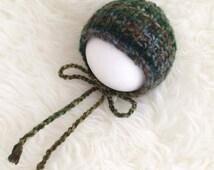 Newborn baby boy bonnet - true newborn photography prop - forest green pine variegated fall autumn textured ridge - photo shoot newborn prop