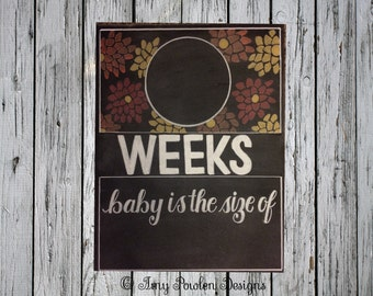 Reusable Weekly pregnancy countdown chalkboard/Photo prop