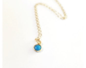 Faceted Blue Turquoise Gold Vermeil Necklace, December Birthstone Jewelry, Minimalist Jewelry