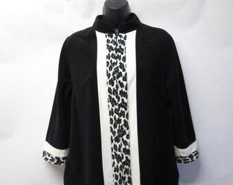 Vintage Vanity Fair Polyester Fleece Black Cheetah Print Robe Housecoat Size 12
