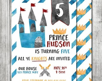 Knight Birthday Invite - Castle Invite - King Birthday Party - 5x7 JPG (Front and Back Design)
