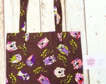 Brown owl tote bag, owl bag, brown shopping bag, carrier bag, tote bag